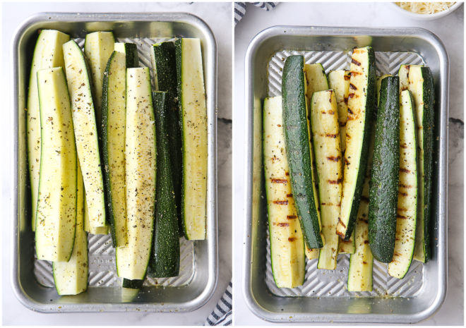 zucchini before and after grilling