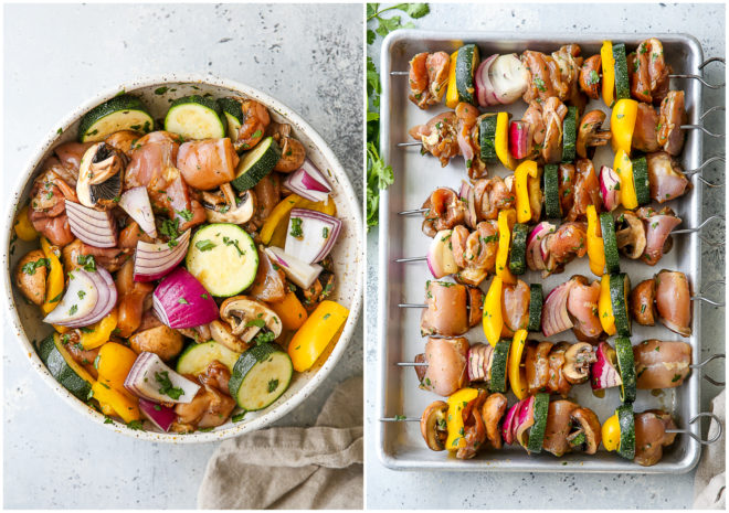 marinated chicken and veggies, and putting them on skewers
