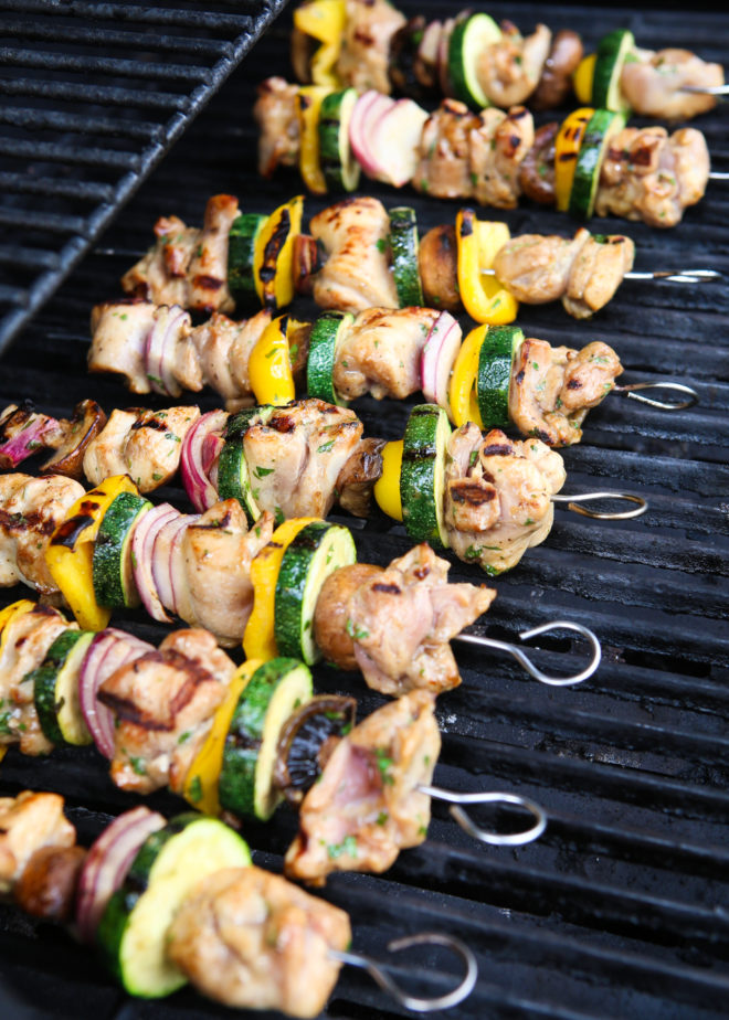 grilling lemon-cilantro chicken and veggies skewers