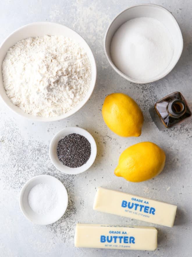 ingredients for lemon poppy seed shortbread cookies