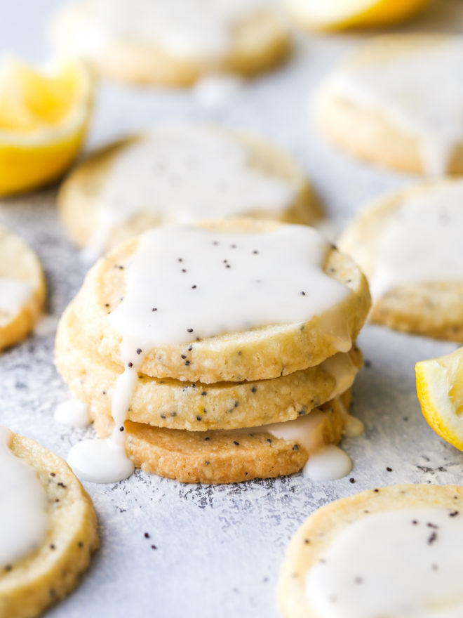 lemon poppy seed shortbread cookies stacked together