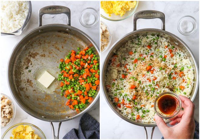 cooking veggies and adding soy sauce to fried rice