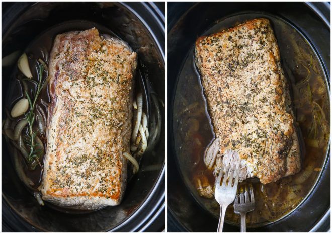 slow cooker rosemary balsamic pork roast before and after cooking