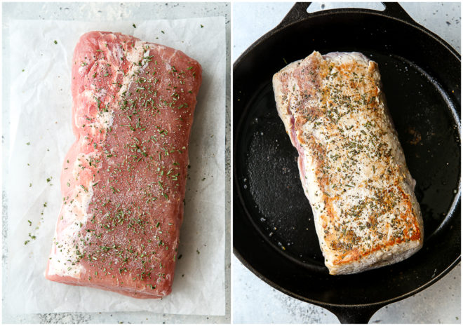 getting pork loin ready to put in the slow cooker