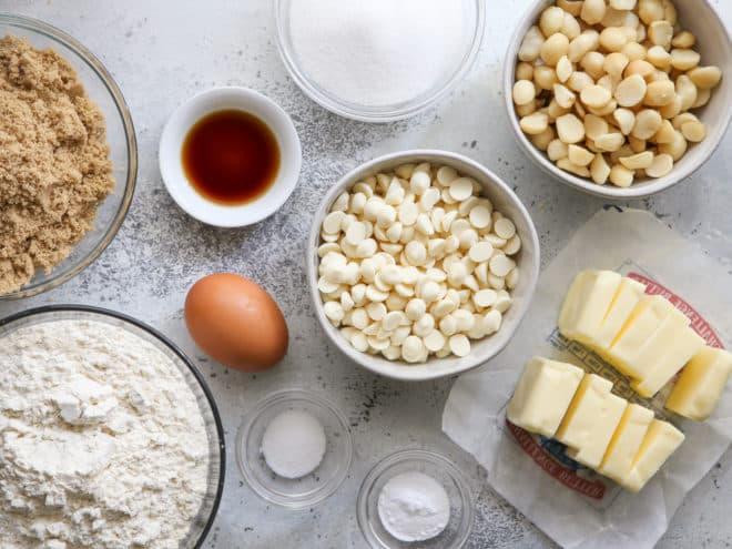white chocolate macadamia nut cookie ingredients