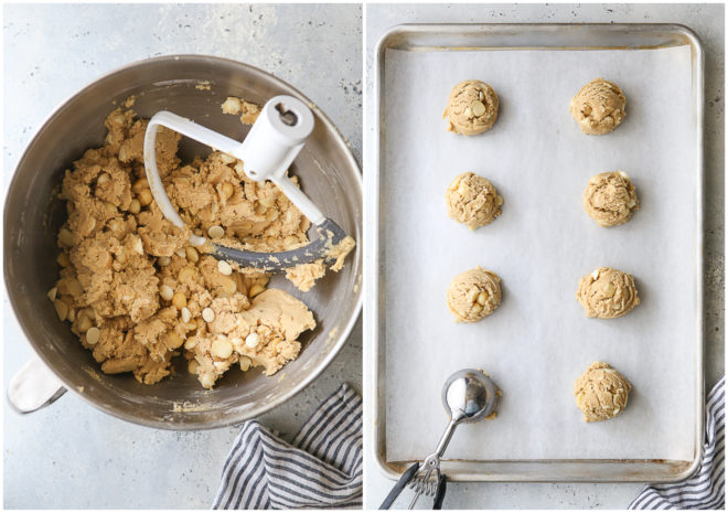 mixed white chocolate macadamia nut cookies on a bowl, and portioned cookie dough rounds on a sheet pan