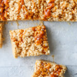 squares of brown butter salted caramel rice krispie treats closeup