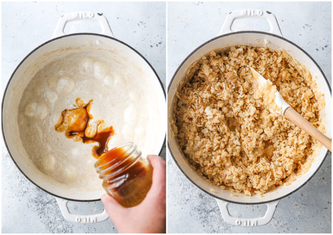 adding caramel to melted marshmallows and mixing in rice krispie cereal