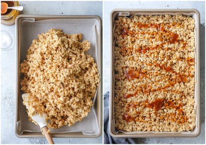 pressing rice krispie treats into pan
