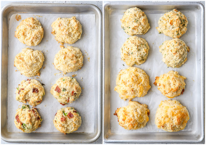 baked buttermilk drop biscuits on sheet pans
