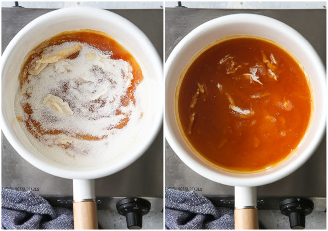 making caramel with the dry method, steps 3 and 4