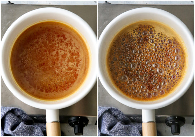making caramel with the wet method, steps 3 and 4