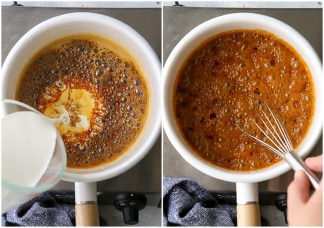 adding heaving cream to caramelized sugar