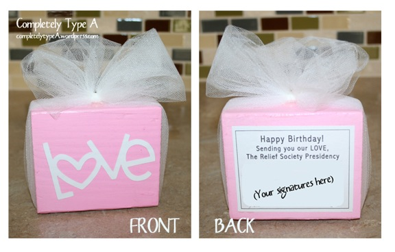 Relief Society Birthday Visit Gifts Completely Type A