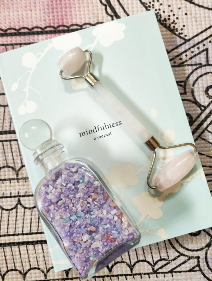 5 Essential Self-care Tools to Help You Find Your Inner Zen! Mindfulness Journal, Rose Quartz Roller, & bath salts from Dollymoo.
