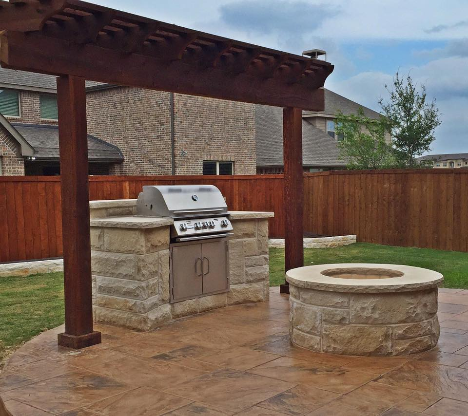 bbq grill fire pit and patio