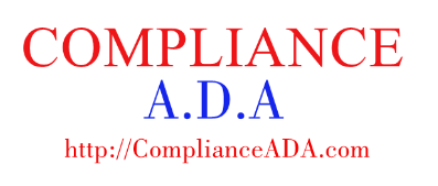 "Compliance ADA logo - This websites logo made up text On The Top In color Red it Says ""Compliance"". In the the middle row in color blue it says ""A.D.A"" and on the bottom row it has this website name in color red ""http://ComplianceAda.com"