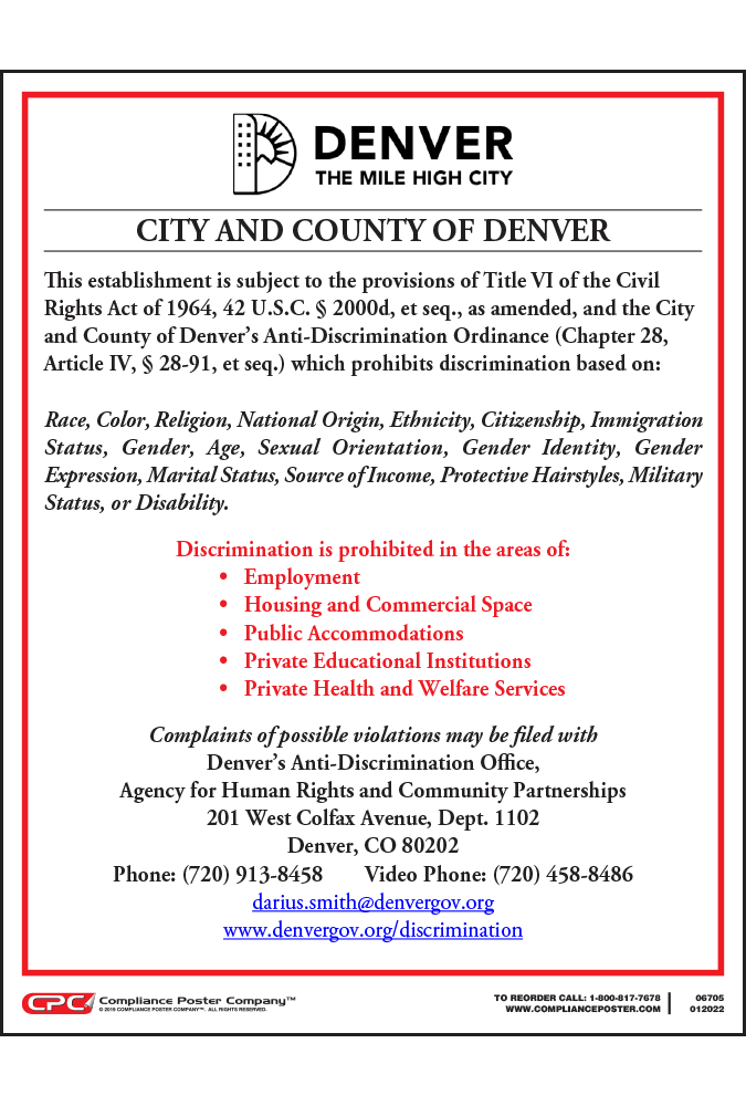 city and county of denver co anti discrimination poster