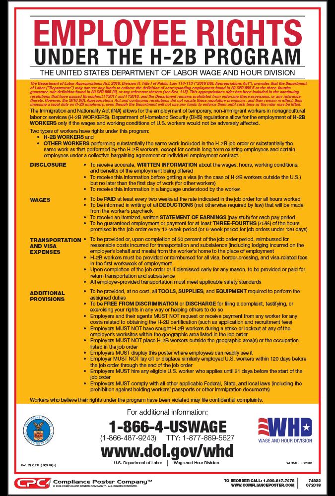 employee rights under h 2b program poster