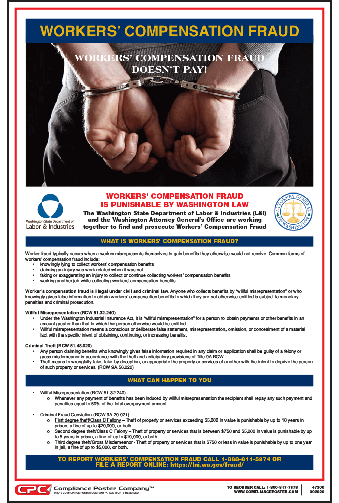 washington state workers compensation fraud poster