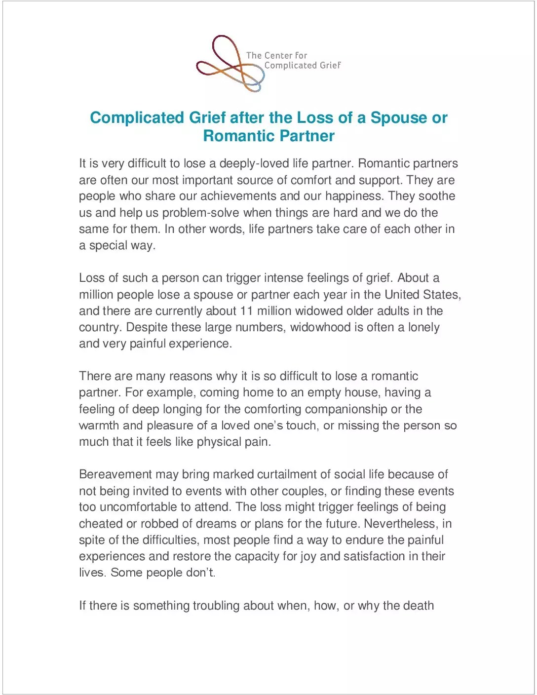 Complicated Grief Resources