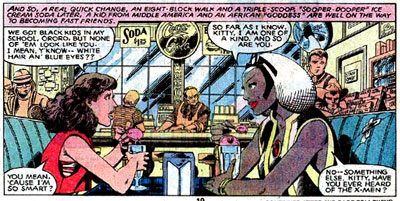 Storm recruits Kitty Pryde into the X-men, a found family/superhero team. From Uncanny X-men 129.
