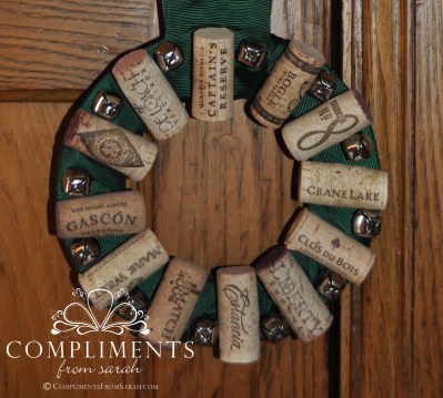 wine cork wreath green ribbon and bells door knob size