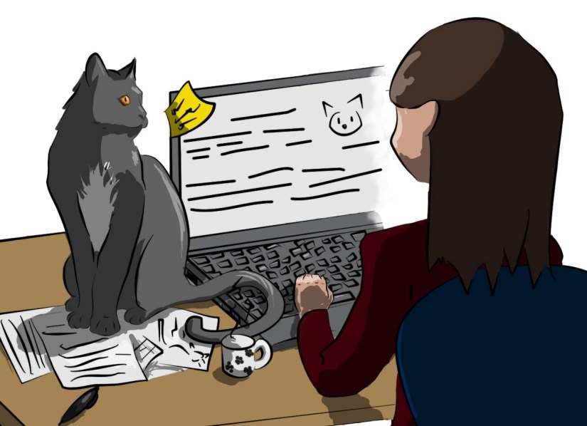 Jeune femme travaillant à son bureau. Son chat est assis sur ses papiers et la regarde.