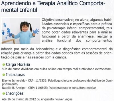 Cursos Online do InPA - Habilidades Sociais/Terapia Comportamental Infantil 17