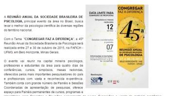 Sociedade Brasileira de Psicologia isenta alunos de baixa renda de pagarem a inscrição 15