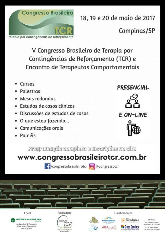 V Congresso Brasileiro de Terapia por Contingências de Reforçamento (TCR) e Encontro de Terapeutas Comportamentais 5