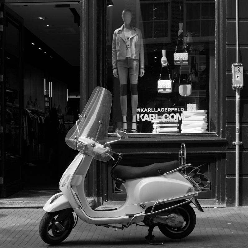 Moped black and white