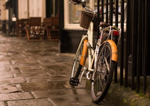 Vintage bike in a vitage town