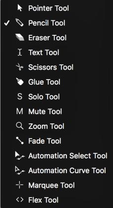 Palette d'outils d'édition de note logic pro x