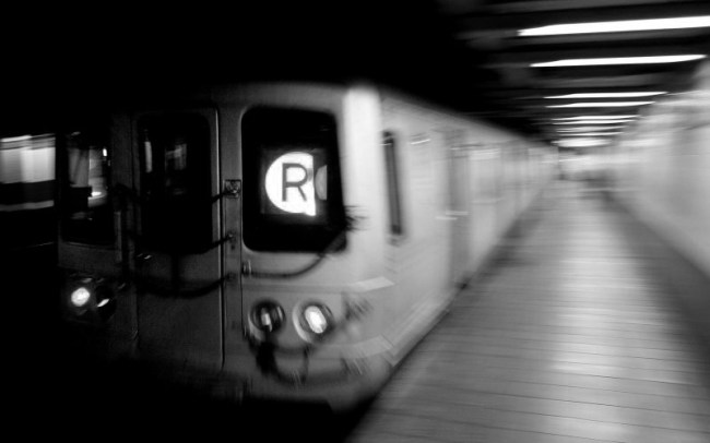 downtown-train-bw