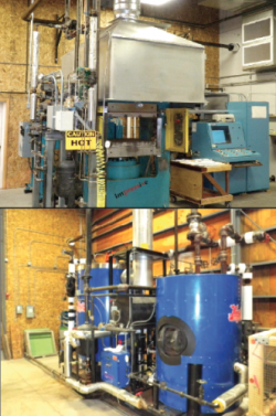 Photo of 34' x 34' Dieffenbacher Steam Injection Press.