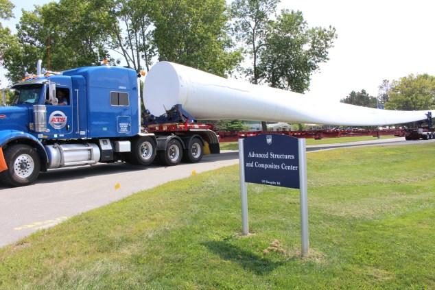 Wind turbine blade arriving at UMaine