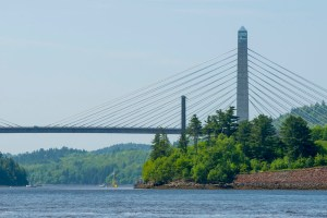 VolturnUS 1:8 passing under Penobscot Narrows Bridge in Bucksport, ME in early June 2013.