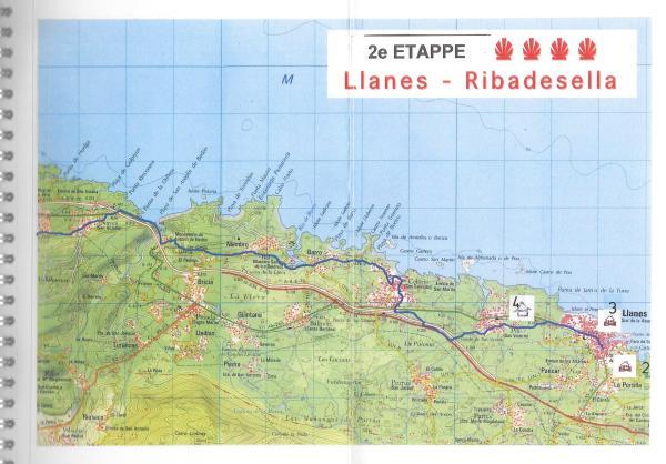 Camino Primitivo - Topografische kaarten met ingetekende routes en alle overnachtingsmogelijkheden - binnenbladzijden