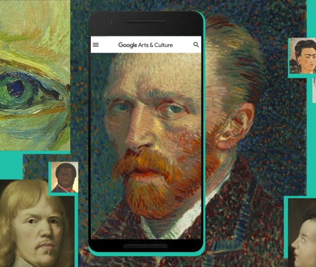 A Van Gogh Self Portrait And Other Images Float Around An Iphone