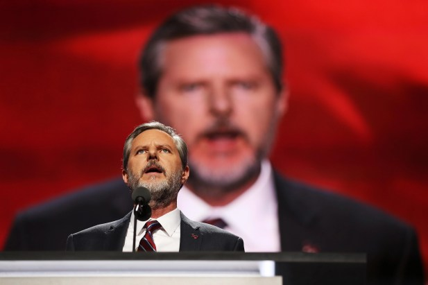 CLEVELAND, OH - JULY 21: Jerry Felwell Jr., president of Liberty University, gives a speech on July 21, 2016, during the evening session on the fourth day of the Republican National Convention at the Quicken Loans Arena in Cleveland, Ohio.  Republican presidential candidate Donald Trump received the number of votes needed to secure the party's nomination.  An estimated 50,000 people are expected in Cleveland, including hundreds of protesters and members of the media.  The four-day Republican National Convention kicks off on 18 July.  (Photo by John Moore / Getty Image)