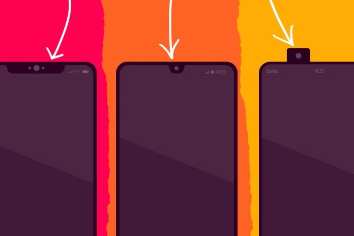 Three different smartphone notches.