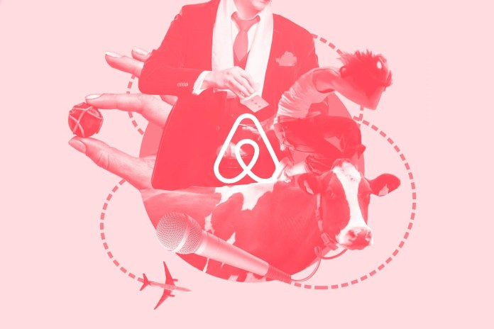 The Airbnb logo with a cow, a magician, a hold holding a piece of chocolate, an airplane, and a microphone.