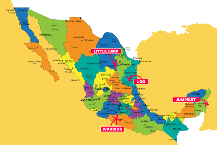 Map of Mexico with the names of cities incorrectly translated by Little Jump, Log, Jumpsuit and Warrior