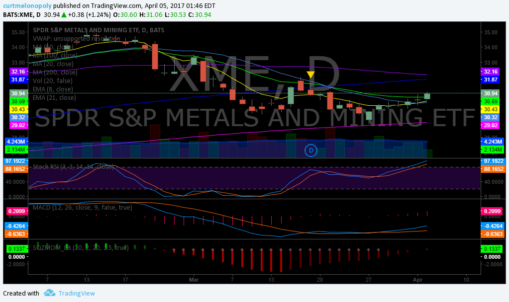 $XME, Swing, Trading, Alerts