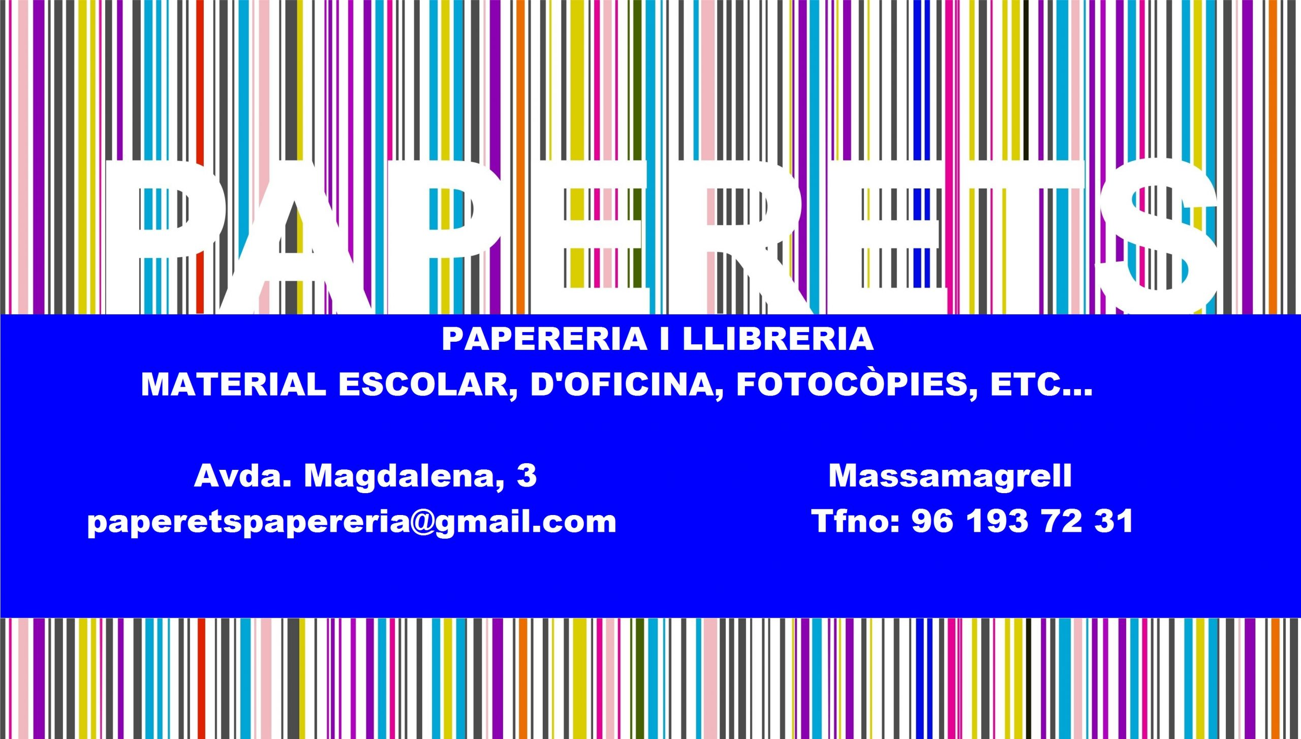 PAPERETS, PAPERERIA I LLIBRERIA