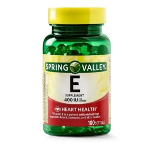 Vitamina E Spring Valley com 100 softgels