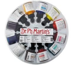 Estuche con 12 frascos de acuarelas líquidas Dr. Ph. Martin's Hydrus Fine Art Watercolor
