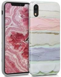 kwmobile Funda Compatible con Apple iPhone XR - Carcasa de TPU y Manchas Colores en Rosa Claro/Violeta/Menta