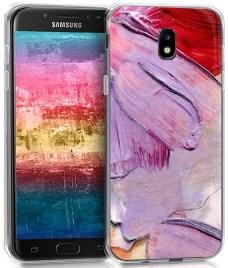 kwmobile Funda Compatible con Samsung Galaxy J5 (2017) DUOS - Carcasa de TPU y Manchas Colores en Violeta/Rosa Fucsia/Rosa Claro